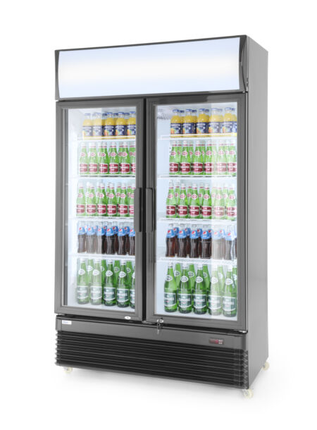 Hendi kétajtós bárhűtő kényszerléghűtéssel, világító reklámfelirattal, zárható ajtókkal 750l