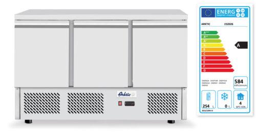 232026 Hendi háromajtós rozsdamentes hűtött munkapult és hűtőszekrény 380l Kitchen Line